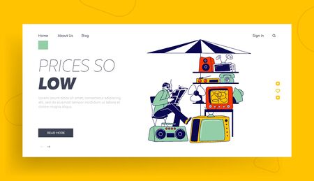 Male Character Sell Old Technique on Flea Market or Garage Sale Landing Page Template. Seller Sit on Chair Read Newspaper sell Vintage Tv, Telephone, Tape Recorder and Fan. Linear Vector Illustration