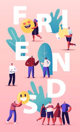 Friendship and Friends Concept. Tiny People Group with Huge Smiles Smiling and Laughing Together. Characters in Good Relations, Togetherness, Happiness Poster Banner Flyer. Cartoon Vector Illustration