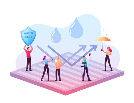 Waterproof Clothes Concept. Tiny Male Female Characters Stand on Huge Water Proof Coating with Umbrella and Falling Rain Drops. New Technologies, Impregnated Fabric. Cartoon People Vector Illustration