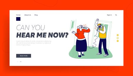 Aged People Communication, Share Gossips, Retro Transmitter Landing Page Template. Senior Characters Speaking by Deaf Phone or Can Telephone made of Tin Jars and Rope. Linear Vector Illustration