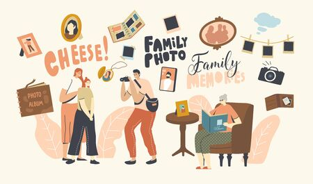 Family Photo Concept. Mother and Daughter Characters Visiting Salon for Making Photography. Senior Woman Sitting with Album in Hands Watching Pictures from Past. Linear People Vector Illustration Иллюстрация