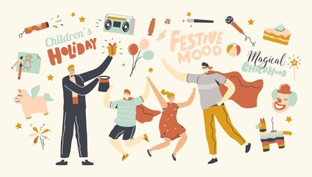 Animator Characters Entertaining Children at Child Birthday Party Performing Magical Tricks and Playing Role of Superhero, Happy Kids Jumping Enjoying Amusement Show. Linear People Vector Illustration