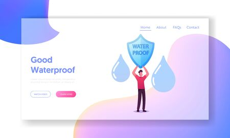 Rainproof and Aqua Resistant Technologies for Fiber and Clothing Landing Page Template. Tiny Male Character Holding Shield with Water Proof Inscription and Falling Drops. Cartoon Vector Illustration