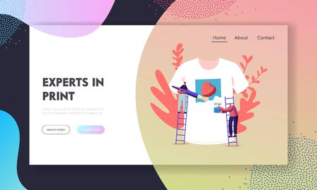 People Create Handmade Apparel Design Landing Page Template. Tshirt Print, Diy Hobby Workshop