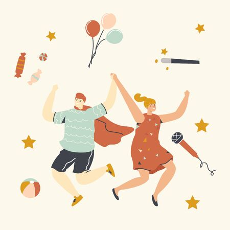 Children Party, Birthday Celebration Concept. Happy Cheerful Kids Characters Dancing and Jumping with Hands Up. Friends Boy and Girl Celebrate Event with Animator. Linear People Vector Illustration