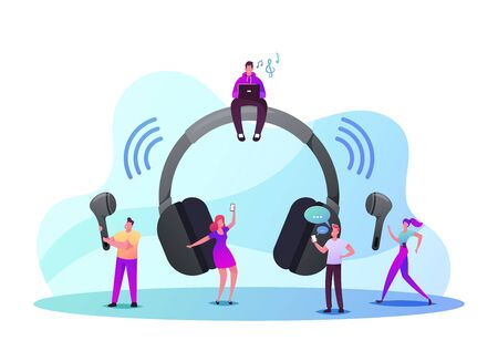 Tiny Male and Female Characters Use Wireless Headphones. Young Men and Women at Huge Earphones Listening Music, Calling to Friends, Smart Technologies for Mobile. Cartoon People Vector Illustration