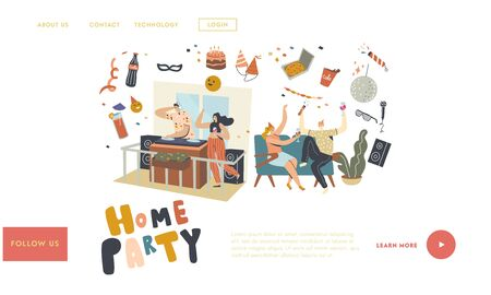 Birthday, Home Party or Festive Event with Dj Music Landing Page Template. Characters with Wine Glasses Celebrate Holiday Drinking Alcohol Cocktail and Communicating. Linear People Vector Illustration