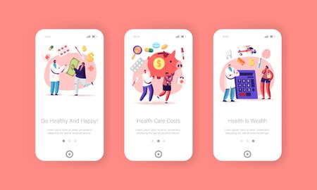 Health Care, Medicine Price Mobile App Page Onboard Screen Template. Tiny Characters Carry Huge Piggy Bank. Medical Cost, People Paying to Doctor, Family Budget Concept. Cartoon Vector Illustration Ilustracja
