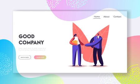 Businessman Shake Hand to Recruit Landing Page Template. Company Hiring Manager Welcoming Employee. Business Man Character Greeting Applicant with Work Appointment. Cartoon People Vector Illustration Ilustração