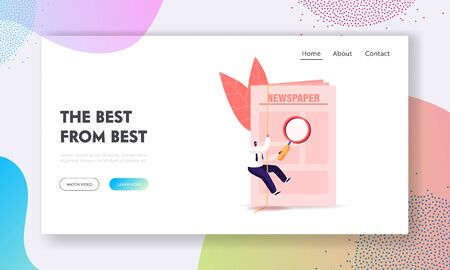 Job Search Landing Page Template. Tiny Male Character Looking for Vacancy Job Using Newspaper. Applicant with Glass Reading Ad. Human Resources, Employment, Recruitment. Cartoon Vector Illustration Ilustracja