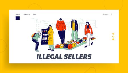 Illegal Sellers Characters Business Landing Page Template. Smugglers Sell on Black Market. Cloak-seller, Dealer in Sunglasses, Hat and Coat Show Goods, Bootleggers. Linear People Vector Illustration Ilustracja