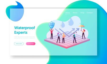 Waterproof Clothes Landing Page Template. Tiny Characters Stand on Huge Water Proof Coating with Umbrella Ilustracja