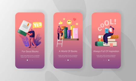 Reading and Education Mobile App Page Onboard Screen Template. Tiny Characters on Shelf with Huge Books Zdjęcie Seryjne - 150336260