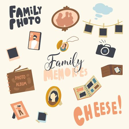 Set of Icons Photo Album, Picture of Family in Frame, Photo Camera and Medallion with Shots. Decorative Ornament, Wrapping Paper or Fabric Print Design with Typography. Linear Vector Illustration Ilustracja