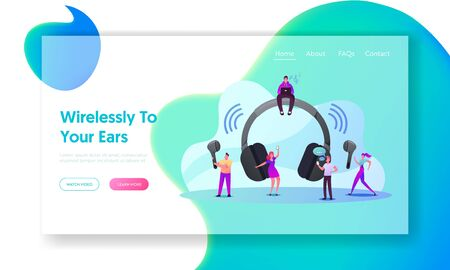 Tiny Characters Use Wireless Headphones Landing Page Template. Young Men and Women at Huge Earphones Zdjęcie Seryjne - 150336275