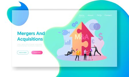 Merger and Acquisition Landing Page Template. Characters at Huge Arrow made of Puzzle Pieces, Business People Shaking Hands Finishing Up Meeting, Etiquette, Congratulation. Cartoon Vector Illustration Ilustracja