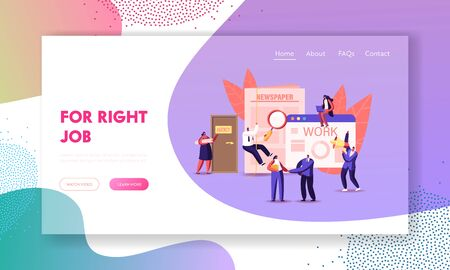 Characters Hiring Job Landing Page Template. People Waiting Work Interview in Office with Applicants, Cv Documents Ilustracja
