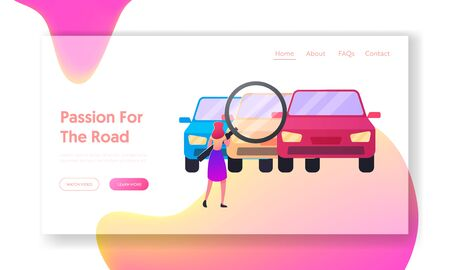 Consumer Character Choosing Auto for Buying Landing Page Template. Woman Looking on Cars through Huge Magnifying Glass, Transport Retail Service, Vehicle Drivers Market. Cartoon Vector Illustration Ilustracja