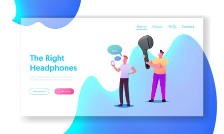 Wireless Headphones Landing Page Template. Young People Listen Music on Mobile Phone