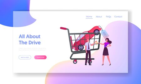 Female Character Buying Automobile on Car Market Landing Page Template. Salesman in Showroom Give Key of Auto to Owner. Vehicles Salon Sale Business, Dealership. Cartoon People Vector Illustration