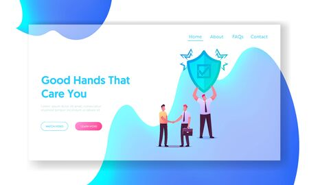 Health, Life or Property Insurance Landing Page Template. Agent Character Shaking Hand to Client, Man with Shield. Health Protection, Secure and Financial Guarantee. Cartoon People Vector Illustration Stock fotó - 150320512
