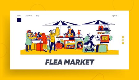 Outdoor Retro Bazaar Landing Page Template. Characters Visiting Flea Market for Shopping Unique Antique Things. Garage Sale with Sellers Presenting Old Stuff to Buy. Linear People Vector Illustration