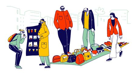 Illegal Sellers Characters Business Concept. Smugglers Selling Illegally on Black Market. Cloak-seller, Dealer in Sunglasses, Hat and Coat Show Goods, Bootleggers. Linear People Vector Illustration Ilustracja
