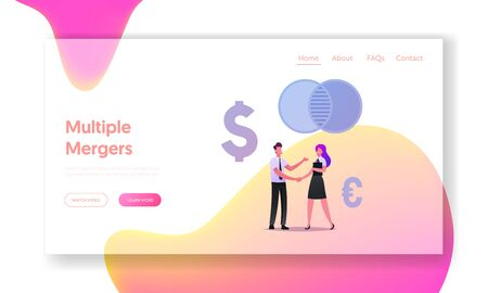 Business People Meeting, Negotiation and Partnership Landing Page Template. Business Partners Handshaking after Merger and Acquisition Deal. Characters Conclude Agreement. Cartoon Vector Illustration