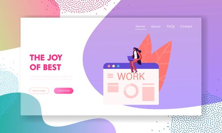 Job Interview and Human Resources Landing Page Template. Woman with Laptop Searching New Job Sending CV and Publishing Ads Online. Character Using Internet to Find Work. Cartoon Vector Illustration Ilustracja