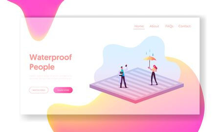 New Technologies, Impregnated Waterproof Fabric Landing Page Template. Tiny Characters Stand on Huge Water Proof Coating with Umbrella and Falling Rain Drops. Cartoon People Vector Illustration