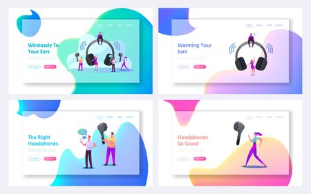 Tiny Characters Use Wireless Headphones Landing Page Template Set. Young Men and Women at Huge Earphones Listen Music, Call Friends, Smart Technologies for Mobile. Cartoon People Vector Illustration