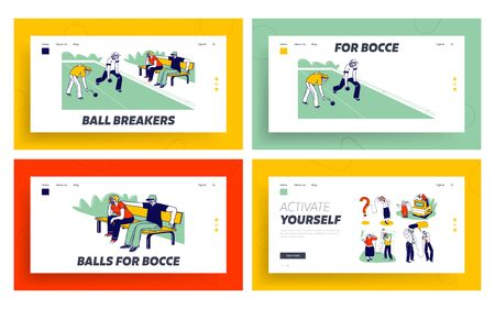 Senior People Playing Bocce, Deaf Phone Landing Page Template Set. Competing each other. Elderly Friends Characters Playing Boules in Park Outdoor Area Enjoying Spare Time. Linear Vector Illustration Ilustracja