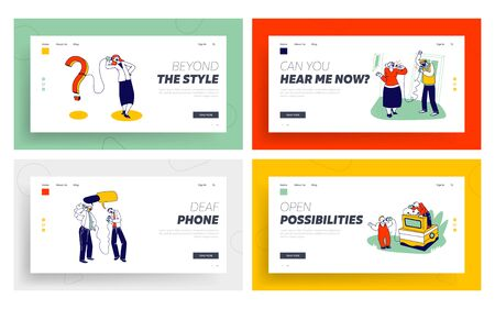 Characters Using Deaf Phone Landing Page Template Set. People Speaking by Can Phones Made of Tin Jars and String or Rope. Retro Communication System, Funny Toy for Children. Linear Vector Illustration