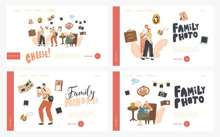 Family Photo Landing Page Template Set. Mother and Daughter Characters Visit Salon Make Photography. Senior Woman Sit with Album in Hands Watching Pictures from Past. Linear People Vector Illustration Stock fotó - 150296268