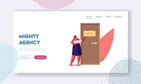 Recruitment, Job Hiring and Interview Landing Page Template. Unemployed Woman Searching Work. Girl Applicant Character with Project Knocking Agency Office Door to Enter. Cartoon Vector Illustration Ilustracja
