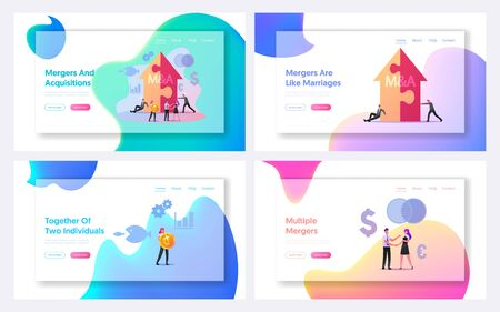 Merger and Acquisition Landing Page Template Set. Characters at Huge Arrow made of Puzzle Pieces, Business People Shake Hand Finishing Meeting, Etiquette, Congratulation. Cartoon Vector Illustration Ilustracja