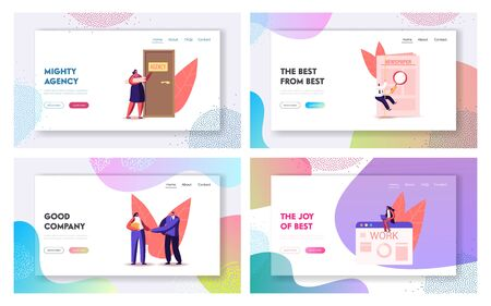Characters Hiring Job Landing Page Template Set. People Wait Work Interview in Office with Applicants, Cv Documents. Hr Agent with Loudspeaker Announcement for Candidates. Cartoon Vector Illustration Ilustracja