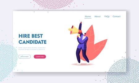 Human Resource, Employment. Recruiting and Head Hunting Landing Page Template. Hiring Manager Male Character Searching for Employee to Hire on Job Using Loudspeaker. Cartoon Vector Illustration Ilustracja
