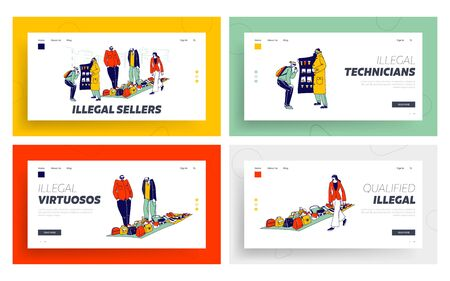 Illegal Sellers Business Landing Page Template Set. Smuggler Characters Sell on Black Market. Cloak-seller Dealer in Sunglasses, Hat and Coat Show Goods, Bootleggers. Linear People Vector Illustration Ilustracja