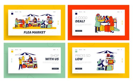 Outdoor Retro Bazaar Landing Page Template Set. Characters Visit Flea Market for Shopping Unique Antique Things. Garage Sale with Sellers Presenting Old Stuff to Buy. Linear People Vector Illustration