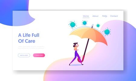 Covid19 Insurance Landing Page Template. Female Character Under Huge Umbrella Protecting from Attacking Coronavirus Cells. Woman Protect Health of Disease, Covering Head. Cartoon Vector Illustration Zdjęcie Seryjne - 150320577