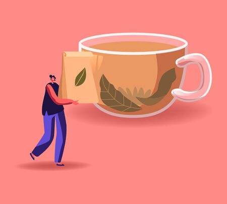 Tiny Woman Carry Package with Dry Tea Leaves front of Huge Cup with Hot Liquid