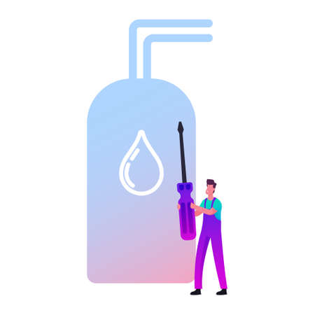 Call Master Character in Robe Install Smart Heater. Husband for an Hour Repair Service, Worker with Screwdriver Fixing Broken Technics at Home. Electrician Plumber at Work. Cartoon Vector Illustration
