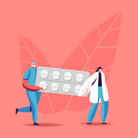 Health Care and Medicine Drugs Industry Concept. Tiny Pharmacist Characters Carry Huge Medication Blister in Pharmacy or Drugstore. Chemist with Remedy Production. Cartoon People Vector Illustration