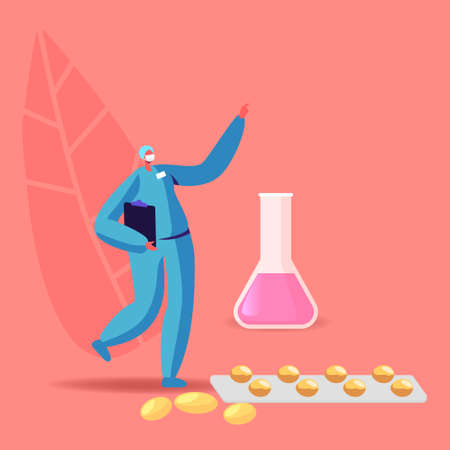 Tiny Pharmacist Female Character Stand at Huge Pills Blister and Beaker with Liquid Medication in Pharmacy or Drugstore. Woman Chemist Doctor with Remedy Pack. Health Care. Cartoon Vector Illustration