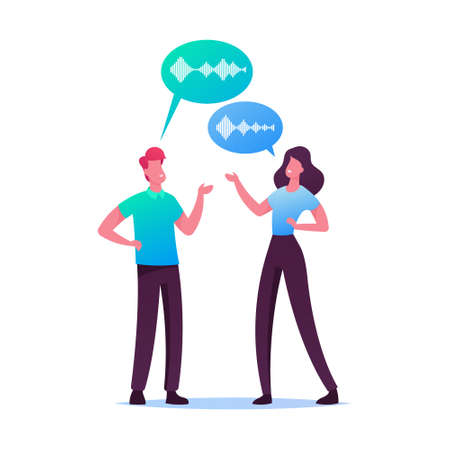 Young Man and Woman Chatting with Speech Bubbles and Sound Wave Symbols. Friends Characters Meeting, People Communicating. Voice Recognition Technologies in Human Life. Cartoon Vector Illustration Stock Illustratie