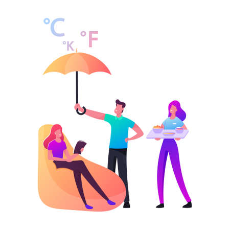 Female Character Sitting in Soft Armchair with Book or Flyer in Hands. Man Cover Girl with Umbrella, Woman Bringing Tray with Dinner. Smart Home Assistance Concept. Cartoon People Vector Illustration 写真素材 - 150819157