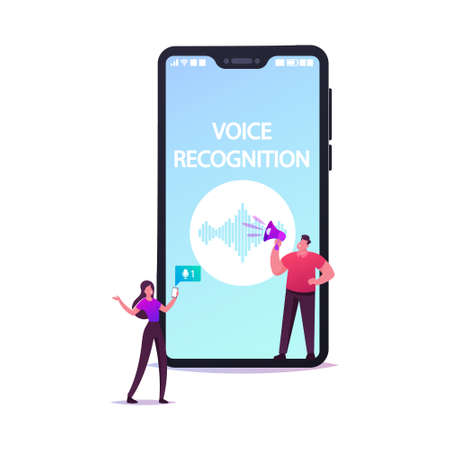 Personal Assistant and Voice Recognition Concept Tiny Characters at Huge Mobile Phone with Sound Symbol, Intelligent Technologies. Woman with Microphone and Headset. Cartoon People Vector Illustration Stock Illustratie
