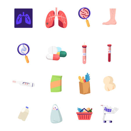 Set of Medicine Icons Xray of Diseased Lungs, Germs under Magnifier and Foot with Veins, Medical Pills, Blood in Test Tube and Pregnancy Test with Grocery Products. Cartoon Vector Illustration