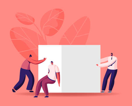 Business Team Pushing Huge Cube Solving Complicated Problem or Working Task. Characters Teamwork Cooperation, Career Challenge, Motivation and Goal Achievement. Cartoon People Vector Illustration